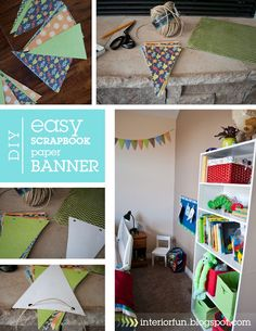 Interior Fun: I made this for my son's room! Added color and patterns to his space to liven it up a bit! Cheap & easy scrapbook banner!