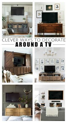 DIY Home Decor Inspiration : Illustration Description How to decorate around a TV. The best creative ways to hide, camouflage and decorate around a TV. -Read More – Diy Projects On A Budget, Diy Home Decor On A Budget, Decorating On A Budget, Cheap Home Decor, Decorating Around Tv, Decor Around Tv, Trendy Home, Home Decor Inspiration, Decor Ideas