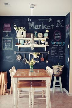 Chalkboard wall with shelving to keep cookbooks, pots, pans and the weekly grocery list in one spot.