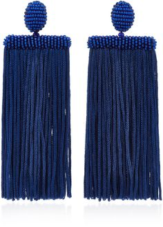 Oscar de la Renta Waterfall Tassel Silk Earrings