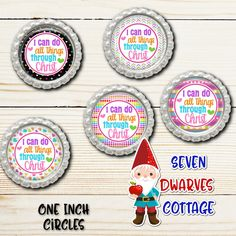 Rainbow I Can Do All Things Through Christ Bible Scripture One Inch Circles Bottlecap