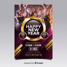 Cartaz de festa de ano novo 2019 Vetor g. Free Psd Flyer Templates, Free Brochure, Vector Free Download, Party Poster, Nouvel An, New Years Party, Happy New Year, Vector Freepik, Aldo