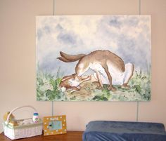 I painted the Guess How Much I Love You bunnies on a large canvas for my nephew Bode's nursery. Design Portfolio - Burnt Toast Studios