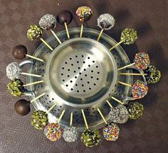 colander for drying cake pops - brilliant!  Now I might think of making some!
