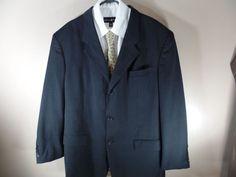 44L Bolzano Mens Sport Coat Blazer Suit Jacket Wool Black Plaid #Bolzano #ThreeButton