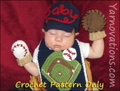 Baseball Crochet Newborn Outfit - Baseball Cap (Hat), Mitts (Mittens), Bib. $3.99, via Etsy.