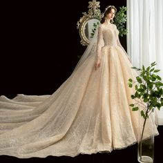Chic / Beautiful Champagne See-through Wedding Dresses 2020 Ball Gown Square Neckline Long Sleeve Backless Glitter Tulle Appliques Lace Beading Cathedral Train Ruffle Fantasy Wedding Dresses, Amazing Wedding Dress, Beautiful Wedding Gowns, Blue Wedding Dresses, Bridal Dresses, Prom Dresses, Tulle Ball Gown, Ball Gowns, Pretty Dresses
