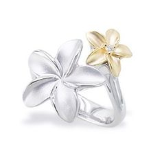 white gold and gold plumeria ring