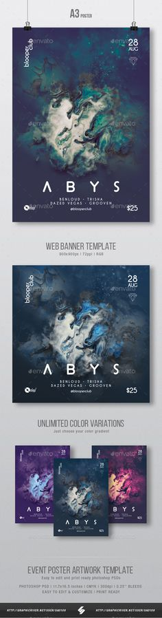 Abys - Progressive Party Flyer / Poster Artwork Template A3 - Clubs & Parties #Events