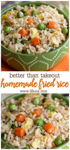 Skip the takeout and try making fried rice at home! This rice is flavored with sesame oil, garlic, and soy sauce mixed with peas, carrots, and eggs. Noodle Recipes, Rice Recipes, Side Dish Recipes, Vegetable Recipes, Chicken Recipes, Cooking Recipes, Wok Recipes, Vegetable Dish, Carrot Recipes