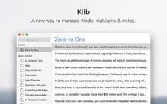 #Literatura #Internet #kindle Klib, una forma de gestionar el texto subrayado y las notas de Kindle desde Mac