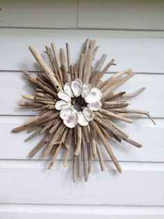 driftwood tree with shell leaves   Driftwood Oyster Shell Sunburst ~by My Honeypickles