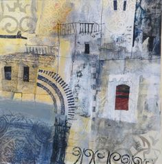 Smells, Sounds, and Sights from Around the World Captured in Collage by Karen Stamper Watercolor Landscape, Abstract Landscape, Abstract Art, Collages, Collage Artists, Moroccan Art, Mixed Media Collage, Urban Art, Portrait Paintings