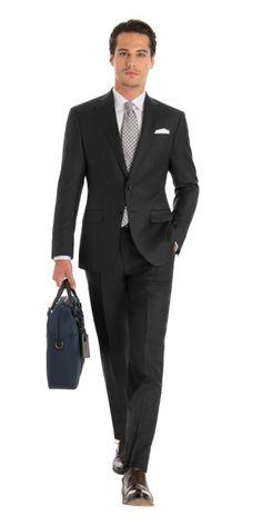 Custom Suit in Carbon Gray Saxony Khaki Suits, Brown Suits, Black Suits, Black Blazers, Mens Suits, Black Tie Tuxedo, Tuxedo Pants, Tuxedo For Men, Charcoal Blue Suit