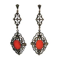 Vintage Deco German Carnelian, Marcasite Sterling Silver Earrings | 1stdibs.com