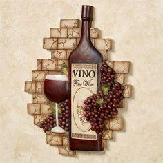 Decorating Kitchen Vino Italiano Wine and Grapes Wall Plaque - Wine Theme Kitchen, Grape Kitchen Decor, Kitchen Themes, Kitchen Ideas, Kitchen Design, Wine Corker, Wine Wall Decor, Tuscany Decor, Wine House
