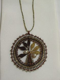 Online shopping from a great selection at Arts, Crafts & Sewing Store. Lace Necklace, Lace Jewelry, Jewelery, Pendant Necklace, Bobbin Lace Patterns, Lacemaking, Lace Heart, Lace Detail, Creations