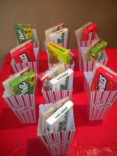Here's a cute birthday party idea...host a movie night and the favors can be plastic popcorn buckets with a bag of microwave popcorn and movie candy in it! Who LOVES this idea?