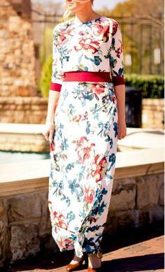 Bridgette fully customizable women's floral print maxi dress