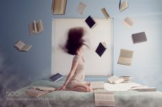 Oh the joy of books! - Pinned by Mak Khalaf I haven't been uploading much and that's due to school. This is actually my final project for my photography class this semester! I haven't tried anything this elaborate before so I'm pretty proud of this! Fine Art  by NbbPhotos