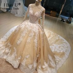 100% Real Wedding Dress Luxury Crystal Pearl Train Wedding Dress 2017 ArabicTop Fashion Lace Appliques Ball Gown Bride Dresses