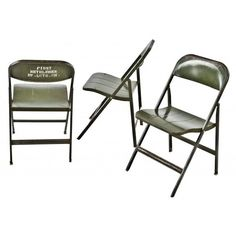 group of three matching all original heavy gauge steel army green... (1,935 CNY) ❤ liked on Polyvore featuring home, furniture, chairs, folding furniture, folding chairs, collapsable chair, olive green furniture and steel folding chairs