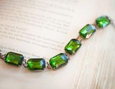 Emerald Bridal Jewelry Chain Bracelet Wedding Jewelry by Not One Sparrow pinned with #Bazaart - www.bazaart.me