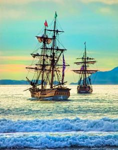 Lady Washington with her consort, Hawaiian Chieftain, off the California coast. #travel #sailing http://historicalseaport.org/
