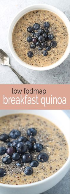 Start your day off right with this delicious and nutritious Low FODMAP Breakfast Quinoa. Not only is this recipe gluten and dairy free, but it& also packed with nutrients and ready in less than 5 minutes! Fodmap Breakfast, Quinoa Breakfast, Breakfast Recipes, Snack Recipes, Breakfast Ideas, Smoothie Recipes, Nutribullet Recipes, Fodmap Recipes, Low Calorie Recipes