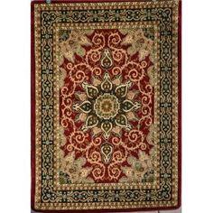 Burgundy Green Beige Black Beige Isfahan Area Rug Oriental Carpet Large New 653 $140