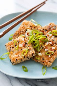 Sesame Crusted Tofu- Fish sauce and Valerie are not not friends. The recipe was good except the fish sauce, but the tofu was too bland wo it. Best Tofu Recipes, Veggie Recipes, Asian Recipes, Vegetarian Recipes, Cooking Recipes, Healthy Recipes, Vegetarian Cooking, Vegan Recipes Vietnamese, Dessert Recipes
