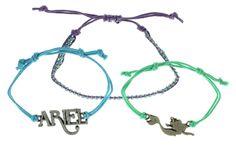 Disney The Little Mermaid Cord Bracelet Set. Officially Licensed. Little mermaid inspired charms. Set of 3 Bracelets. Cord Bracelets.
