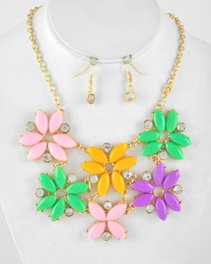 Gold Tone / Multi Color Acrylic & Clear Rhinestone / Lead Compliant / Flower Necklace & Fish Hook Earring Set