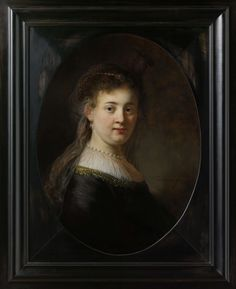 "Rembrandt van Rijn, ""Young Woman in Fantasy Costume"" (thought to be Rembrandt´s wife Saskia van Uylenburgh), 1633. Oil on panel, h 65 cm × w 48 cm."