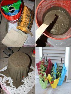 Eski Bir Havludan Beton Saksı Nasıl Yapılır (2)