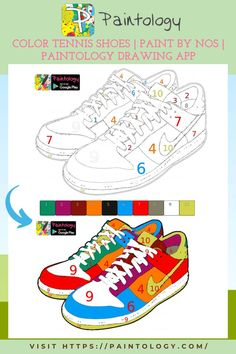 Shoes are the most common items that we see every day, so why not color them! You can do all of this in the comfort of your phone or tablet. You will be very surprised with what you can do on your humble phone or tablet. The paintology app used for some of these drawings has been designed to make drawing fun and easy. Learn drawing whenever you can right on your phone or tablet. You will not have to look for pencil or paper again since the phone will have all of these tools. #paintbynumbers