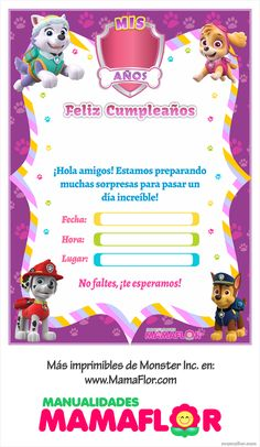 Imprimibles: Paw Patrol para niñas [INVITACIONES] Sky Paw Patrol, Paw Patrol Party, Paw Patrol Birthday, Paw Patrol Invitations, Birthday Invitations, Minnie Mouse Party, Mouse Parties, Imprimibles Paw Patrol, Happy Paw