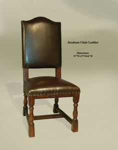 Jacobean Carved Leather Dining Chair Nailhead