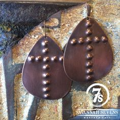 Tamarac Earrings – stamped cross copper earrings from Savannah Sevens Western Chic