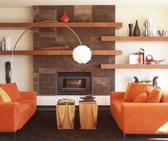 Love the lighter wood with the deep browns... of course the shelving units!