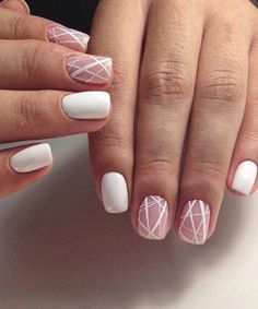 Line Nail Designs, Simple Nail Art Designs, Nail Art Stripes, Striped Nails, Nails With Stripes, White Nail Art, White Nails, White Lines On Nails, White Art