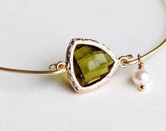 Bridesmaids Bracelet Gift 14K Gold Plated bangle by birdshome