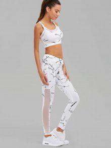 Paint Splatter Mesh Paneled Gym Suit