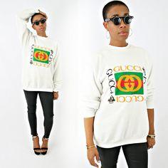 vintage 80s white retro GUCCI LOGO sweatshirt size M L by PasseNouveauVintage on Etsy, $55.00