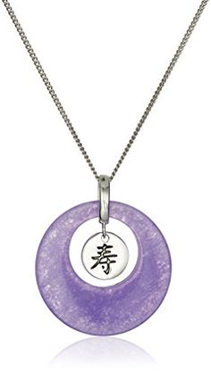 "Sterling Silver Lavender Natural Quartz Long Life Donut Curb Chain Pendant Necklace, 18"" Amazon Collection-$21.39 http://www.amazon.com"