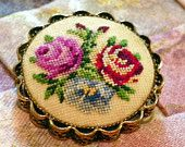 Vtg Cross Stitched Pink and Red Roses on Pin /Brooch . Gift Box