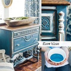 """Flow Blue is a rich blue that's deeper than French Enamel, but not as dark as Artissimo. It's named after the blues found on antique """"flow blue"""" china. Marian loves Flow Blue layered under French Enamel for a two-toned finish. It pairs well with Boxwood. Milk Paint Furniture, Furniture Wax, Antique Furniture, Painted Furniture, Furniture Ideas, Redoing Furniture, Laminate Furniture, Pallet Furniture, August Colors"""