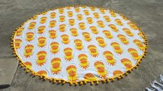 Yellow Orange Pineapple Roundie Beach Towel