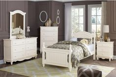 Clementine Classic White Wood 4pc Kids Bedroom Set w/Twin Bed
