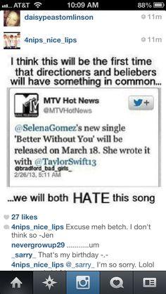 Ahahahaha. But please Selena. Don't turn into a Taylor. I love selena